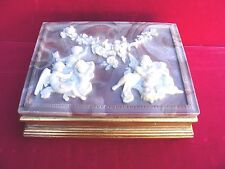 VINTAGE INCOLAY STONE HANDCRAFTED IN USA LARGE JEWELRY/TRINKET BOX 2 SECTIONS.