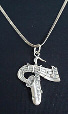 "Sterling Silver 17"" Herringbone Necklace & Saxophone Music Notes Pendant - 11.1g"