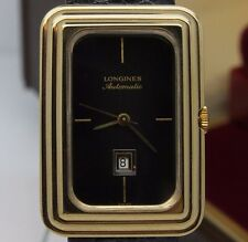 VINTAGE Longines Automatic Mens Dress Watch Stepped Square Case w Date & Box