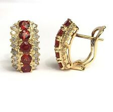 14k Solid Yellow Gold 3Rows Omega Back Diamond Earrings, Natural Orange Sapphire