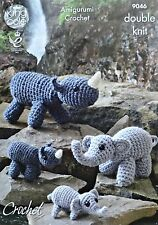CROCHET PATTERN Amigurumi Soft Toys Elephants & Rhinos DK PATTERN 9046