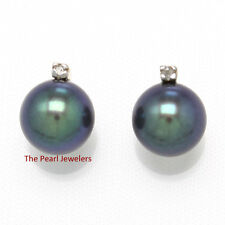 14k Yellow Solid Gold Sparkling Diamond; 7mm Black Cultured Pearl Stud Earrings