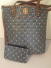 TOMMY HILFIGER Women Black/White Tote Bag with Small bag NEW