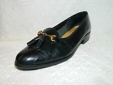"""Size 8.5 M Westbound Black Leather Loafers Gold Horse Bit Tassels 1"""" Heel 1148"""
