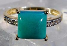 Turquoise & Diamond Ring 14k Yellow Gold Square Cabochon Size 9