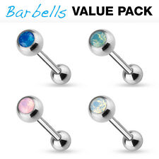 4pc Value Pack Opalite Crystal Gem Tongue Rings 14g Tounge Body Jewelry