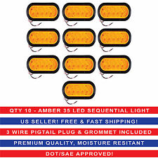 "6"" Oval Amber Sequential Arrow Mid Turn Light 35 LED Trailer w/Grommet Qty10"