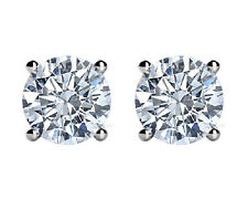 1.00 CT G/VS2 Round White Diamond Stud Earrings 14K White Gold All NATURAL