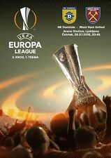 2016 NK DOMZALE v WEST HAM UNITED EUROPA LEAGUE PROGRAMME