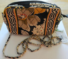 Vera Bradley Dogwood Mini Chain Bag-cross body floral quilted-black gray yellow