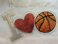 Iron On Transfer Applique Rhinestone and Silver Sequin I Love Basketball