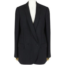 Stella McCartney Black Double-Breasted Mesh Fringe Back Jacket Blazer IT42 UK10