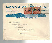 1923 Warsaw Poland CAnadian pacific Railway Advertising Cover to Canada