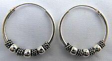 Pair  Of  Sterling  Silver 925  Balls  Hoop  Earrings  20  MM  !!      New !!