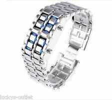 NEW Sub-Zero Samurai Inferno Lava Steel Blue LED Digital Numbers Bracelet Watch