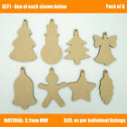 Wooden Christmas Baubles for Tree Decoration Blank Craft Tag hanging, MDF Xmas