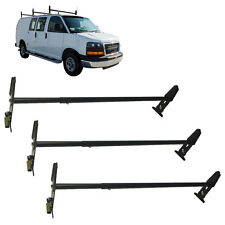 Roof Mount Gutter Van Ladder Rack Cross Bar 3 Bar Black Ladder Universal Steel