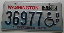 Washington 2003 DISABLED PERSON License Plate NICE QUALITY # 36977