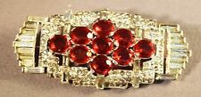 RARE Art Deco Rhinestone Embedded Ruby Red Stones KTF (Trifari) Brooch! WOW!