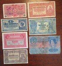 Lot of 7 HUNGARY Korona 1913 to 1923 1, 2, 5, 20, 100 Korona