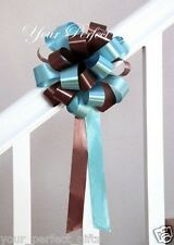 "TEAL BLUE BROWN WEDDING 8"" PULL PEW BOW BRIDAL SHOWER"