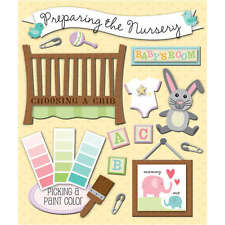K&COMPANY STICKER MEDLEY PREPARE NURSERY BABY PREGNANCY 3D SCRAPBOOK STICKERS