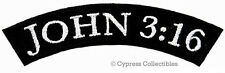 JOHN 3:16 MOTORCYCLE BIKER PATCH CHRISTIAN JESUS ROCKER IRON-ON EMBROIDERED new