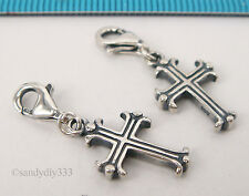 1x STERLING SILVER Holy Cross CHARM PENDANT EUROPEAN LOBSTER CLIP ON CHARM #2108