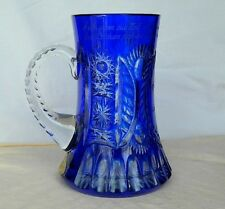Bleikristall German Blue Cut To Clear Tankard Mug Label Etched Glass Crystal