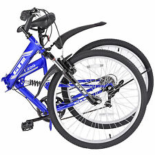 "26""Mountain Bike 7 Speed Folding Bicycle Shimano Hybrid Suspension Sports Blue"