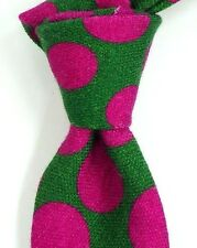 NWT Ted Baker London Green Wool Neck Tie w/ Large Dark Pink Polka Dots ITALY