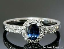 Natural Blue Sapphire & Diamond Engagement Ring Pave Set In Solid 18K White Gold