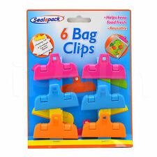 6 PACK BAG CLIPS FOOD STORAGE FRESH FRIDGE KITCHEN CRISPS REUSABLE HANGING HOLE