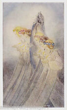 Sulamith Wulfing ANGELS Amid Sky CLOUDS Hair Wreath Vintage 1932 MATTED Picture