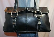 JONES NEW YORK Black Medium Leather Shoulder Hobo Tote Satchel Slouch Purse Bag