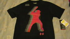 BRAND NEW Boys UNDER ARMOUR BASEBALL GRAPHIC Blk/Gray/Red YMD 10-12 FREE SHIP!