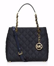 NWT inPack MICHAEL KORS Susannah Quilted Small Satchel Crossbody Denim Blue Gold
