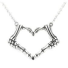 Controse Jewelry I Heart U 2 Death Necklace  Skeleton Hands Love