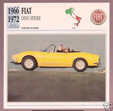 1966-1972 Fiat Dino Spider Convertible Car Photo Spec Sheet Info French Card