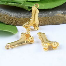 15pcs gold-tone Roller Skates Charms H0775