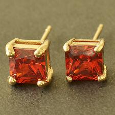 Square 7mm Red Ruby 9K Yellow Gold Filled Womens Stud Earrings,Z5129