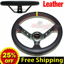 "350mm 14"" LEATHER DEEP DISH Racing Steering Wheel RED Stitch Universal TITANIUM"