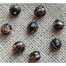 10 HANDMADE INDIAN LAMPWORK GLASS BEADS ~ 13mm Black Round ~ 38