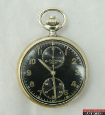 WWII A Lunser Berlin Black Dial Chronograph Pocket Watch German Military Runs!