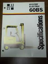 Hyster Lift Truck Brochure~Electric E60BS~Specifications~Catalog Insert 1976
