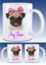 PERSONALISED PUG PINK BOW MUG Drinks Mug Cup,Gift xmas,