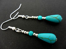A PAIR OF TURQUOISE BLUE  SILVER PLATED DANGLY TEARDROP  EARRINGS. NEW.