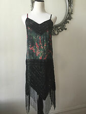 NWT Haute Hippie Beaded Coctail Gatsby Dress Floral 100% Silk Size Small RARE