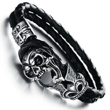 Mens Unisex Stainless Steel Black Genuine Leather Skull Gothic Bracelet G82