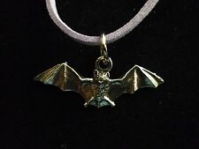 """Country Life Bat w2 Fine English Pewter On a 18"""" Purple Cord Necklace codew1"""